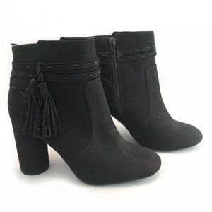 H&M Suede Booties Black Heeled Boots 6